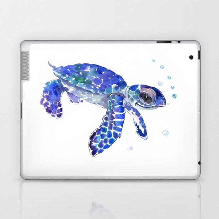 Cute Blue Baby Sea Turtle Children Illustration Turtle Art