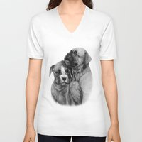 puppies V-neck T-shirts featuring Boxer Puppies by Danguole Serstinskaja