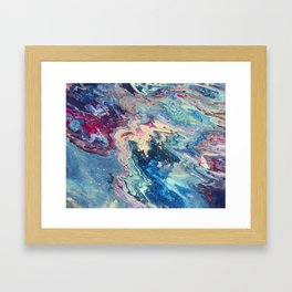 Blue swirl pour painting, Bohemian Style painting Framed Art Print