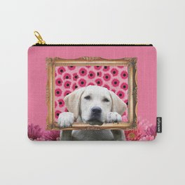Golden Retriever in Frame with giber Flowers Carry-All Pouch