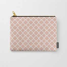 Modern coral white chic quatrefoil pattern Carry-All Pouch