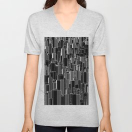 Tall city B&W inverted / Lineart city pattern Unisex V-Neck