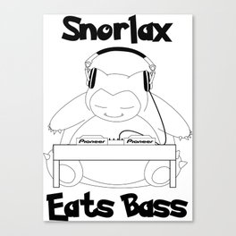 Snorlax Eats Bass Canvas Print