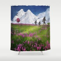 bigfoot Shower Curtains featuring Bigfoot Mountain Meadow by D.A.S.E. 3