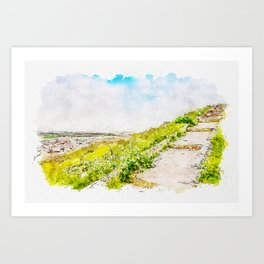 Aquarelle sketch art. Staircase to the sky. Huge stairway leading up a green hill and city in another side. Consuegra, Spain. Art Print