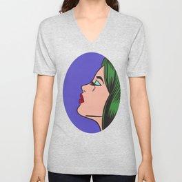 Green Hair Pop Art Girl Unisex V-Neck