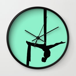 Aerial Silk Silhouette on Mint Wall Clock
