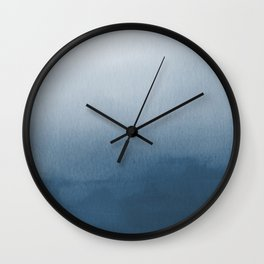 White & Blue Abstract Watercolor Blend Pairs To 2020 Color of the Year Chinese Porcelain PPG1160-6 Wall Clock