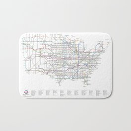 U.S. Numbered Highways as a Subway Map Bath Mat