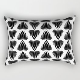 Black striped hearts on a white background. Rectangular Pillow