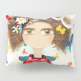 Doll Butterfly Balloons Afro Hair Flowers Pillow Sham