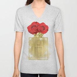 Red Roses & Fashion Perfume Bottle Unisex V-Neck