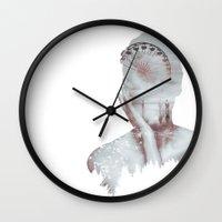 santa monica Wall Clocks featuring Santa Monica Dream by Adel