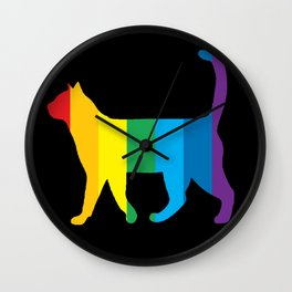 Rainbow Cat Wall Clock