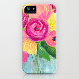 Bouquet of Flowers, Pink and Yellow Flowers, Painting Flowers in Vase iPhone Case