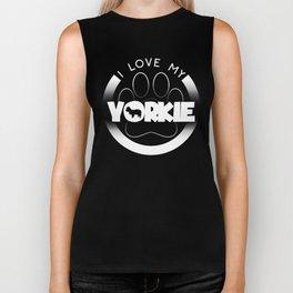 Yorkie Design I Love My Yorkie Circle Paw Chunky Font Logo Biker Tank