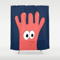 greg guillemin Shower Curtains featuring Monster Greg by Chelsea Herrick