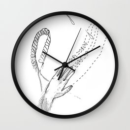 Drippy Hands and Rope Illustration Wall Clock