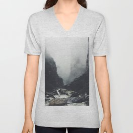 Misty Mountain Cliff Rocky Rapids Foggy Misty Landscape Photography Unisex V-Neck