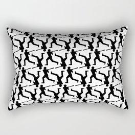 Baseball Player Silhouette - Pattern - Black Rectangular Pillow
