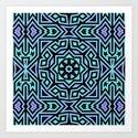 Aqua/Lilac/Black Tribal Pattern by lyle58