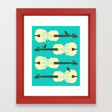 BIRDS ON CELLO STRINGS Framed Art Print