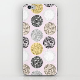 Yellow, White, Gray, Pink and Black Circle Print iPhone Skin