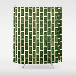 Green 70s Glass Tile // White Grout Natural Surface Texture Shower Curtain