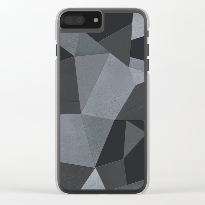 Black and grey worn . Leather patches . Clear iPhone Case