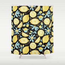 Lemon Pattern Black Shower Curtain
