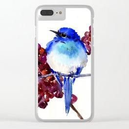 Bird Blue red , Mountain Bluebird adn berries Clear iPhone Case