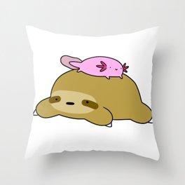 Axolotl and Sloth Throw Pillow