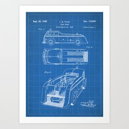 Fire Truck Patent - Fireman Art - Blueprint Art Print