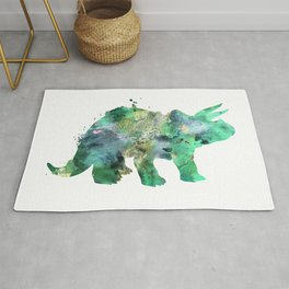 Green and Gold Triceratops Watercolor Painting Rug