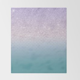 Modern faux lilac glitter teal purple ombre polka dots Throw Blanket