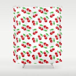 Cherries Pattern Cherry Print Fruit Pattern Shower Curtain