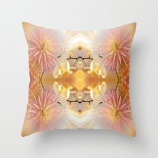 Dahlias and Orchids flowers in reflect Throw Pillow