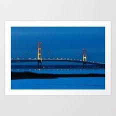 Mackinac Bridge at Blue Hour Art Print