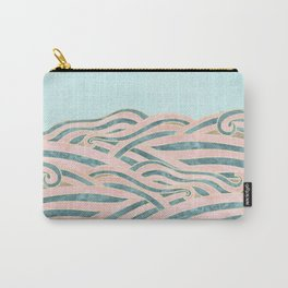 Venetian Waves // Vintage Abstract Pink Blue and Gold Summer Illustration Digital Beach Wall Decor Carry-All Pouch