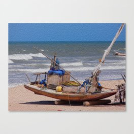 Rustic fisher boat in Brazil Canvas Print