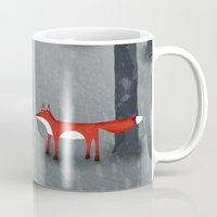 trees Mugs featuring The Fox and the Forest by Nic Squirrell