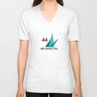 mercedes V-neck T-shirts featuring F1 2015 - #44 Hamilton [v2] by MS80 Design