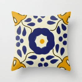 Talavera Mexican tile inspired bold design in blue and yellow Throw Pillow