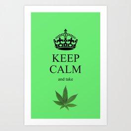 KEEP CALM CANNIBIS Art Print