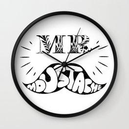 Mr Moustache Wall Clock