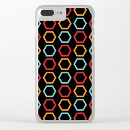 Red, Orange, & Blue Hexagons on Black Clear iPhone Case