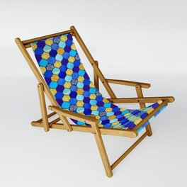 moroccan tiles in blue, aqua and gold Sling Chair