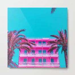 pink hotel and palm trees Metal Print