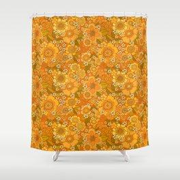 Flower power orange Shower Curtain