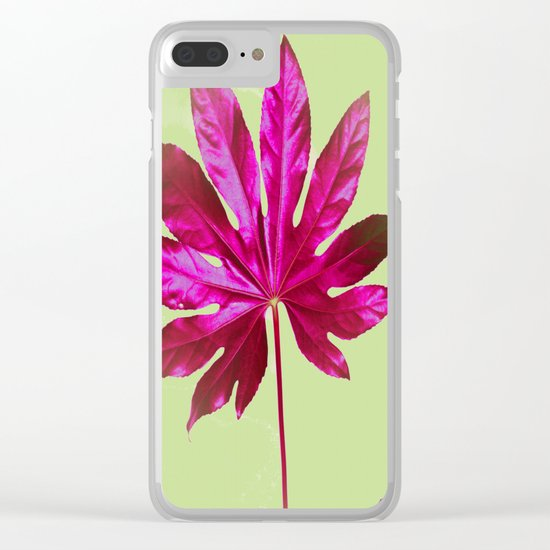 Large pink leaf on a olive green background - beautiful colors Clear iPhone Case